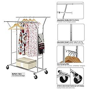 langria stabiler rollbarer kleiderst nder 2 kleiderstange ausziehbarer garderobenst nder. Black Bedroom Furniture Sets. Home Design Ideas