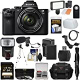 Sony Alpha A7 II Digital Camera & 28-70mm FE OSS Lens 64GB Card + Battery & Charger + Case + Tripod + Flash + LED Light + Microphone + Kit