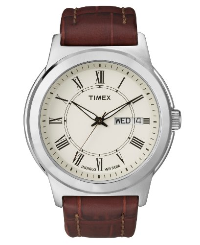 Timex-Watch-Mens-Brown-Croc-Embossed-Leather-Strap-T2E581UM
