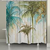 1 Piece 71''x74'' Tropical Flowers Themed Shower Curtain, Palm Tree Hawaiian Bathroom Pattern, Rich Graphic Hawaii Style Floral Bath Drapes, Beach Ocean Sea Theme Design, Vibrant Colors Green Blue