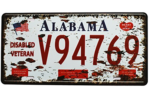 Alabama V94769, Vintage Metal Plaque Tin Sign, Auto License Plate Garage Home Wall Decor