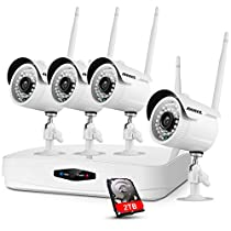 ANNKE 4CH 1080P HD NVR Wireless Security CCTV Surveillance System with 2TB HDD and (4) 1920TVL 2.0MP Wireless WIFI Indoor Outdoor IP Cameras, P2P, 100FT Night Vision, Plug and Play