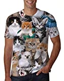 Uideazone Teen Boys Girls Printed Cats T-Shirt Cool Graphic Tee Shirt Small