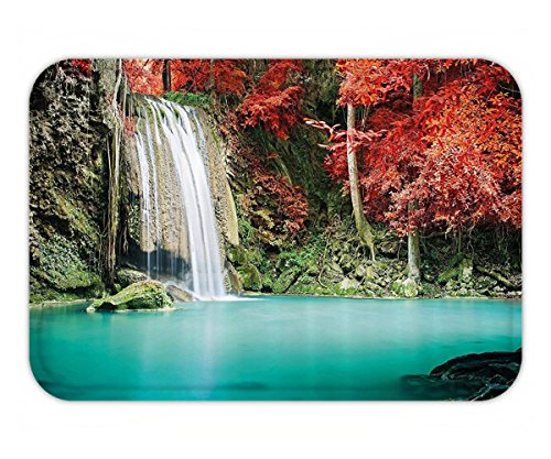 Beshowere Doormat Waterfall Decor Single Waterfall in Corner of the Deep Forest with Fair Fall Oak TreeRed and - Fair Fairfax