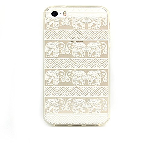 4s Case,iPhone 4S Case, LUOLNH Henna Lotus Floral Elephant Hindu Ganesh Hard Plastic Clear Case Silicone Skin Cover for Apple Iphone 4 4S