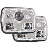 5x7 Projector 7x6 LED Headlight SAE Bulb Set Kit Sealed Beam Replacement Chrome Off Road 6000K Headlamp Light for Jeep Cherokee XJ Nissan Pickup Compatible with H6014 H6052 H6054 6054 (Pack of 2)