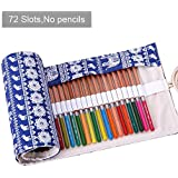 Amerzam Pencils Canvas Pencil Wrap,72 Colored Pencils Roll Pouch Case Holder (Blue Elephant,72 Holes)