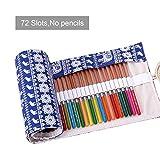 ASYOU 72 Colored Pencils Roll up Pouch Canvas Pen Bag for Watercolor Pens,Crayon, Color Gel Pen (Blue)