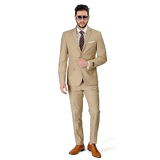Amazon.com: Slim Fit hombre traje 2 botón solapa beige de ...