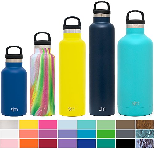 Simple Modern 20 Ounces Ascent Water Bottle - Vacuum Insulated Standard Mouth Sweat Free Fits Cup Holders 18/8 Stainless Steel Yellow Swell Flask - Double Wall Hydro Travel Mug - Sunshine