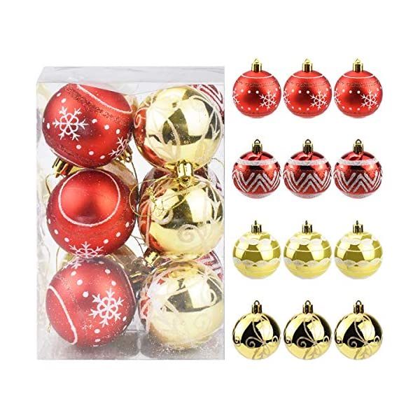 Jinlaili 6CM Palle di Natale Ornamenti, 12PCS Pallina Verniciata Palline di Natale Decorazione per Albero di Natale, Albero di Natale Palla Decorazioni per Alberi di Natale Addobbi Palle (Oro Rosso) 1 spesavip