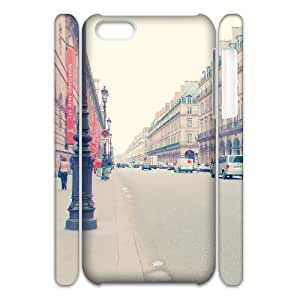 3D Cathyathome Parisian Street IPhone 5C Cases for Boys, Iphone 5c Case for Boys [White]