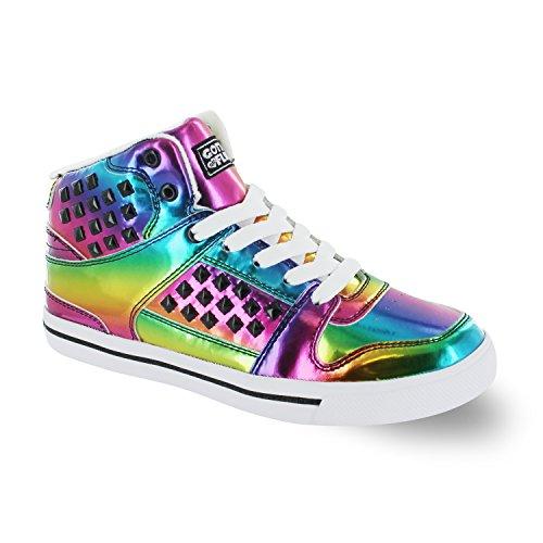 Gotta Flurt Hip Hop HD II Lace Up 3/4 Top High Top Sneaker, Multi/White, 9