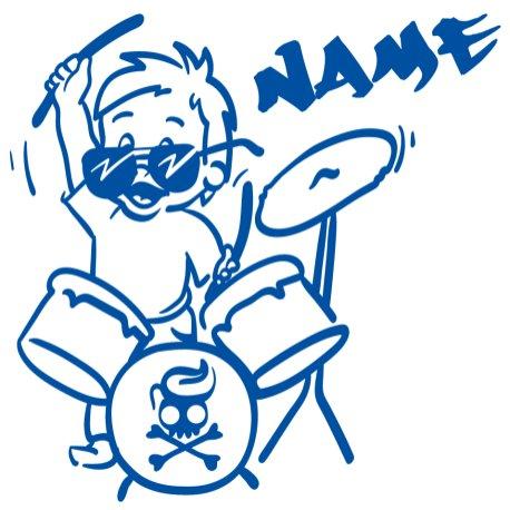 Baby Autoaufkleber mit Namen - Babyaufkleber Auto Junge - Drummer Bub - (Höhe 15cm) - Baby on Board Aufkleber - Babysticker mit Wunschnamen - von stick-us stick us