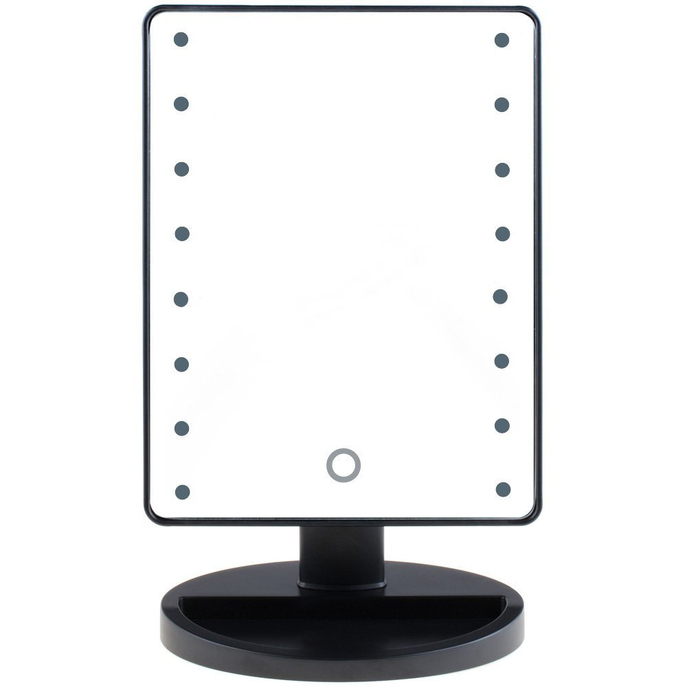 Rantizon Cosmetic Illuminated LED Lighted USB Charging Touch Screen Switch Makeup Mirror 16 LED Light Bulbs 180° Adjustable Vanity Tabletop Mirror with light Travel Mirror with Stand