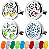 4PCS Aromatherapy Essential Oil Car Diffuser Car Fragrance Diffuser Locket Air Freshener Car Diffuser Vent Clip with 60 Refill Pads