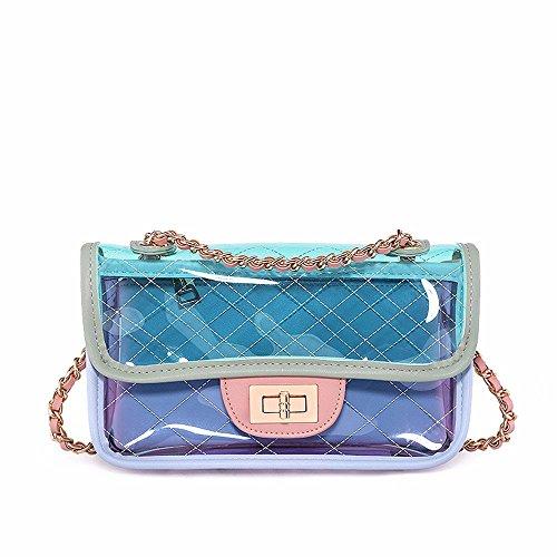 2018 nuevo verano mini bolso de la jalea, solo hombro skew Chain Bag,Blanco Verde