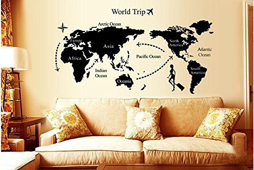 Syga 'World Trip Map' Wall Sticker (PVC Vinyl, 61 cm x 5 cm x 5 cm) Wall Stickers at amazon