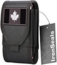 IronSeals Double Capacity Nylon Phone Holster, Molle Tactical Belt Pouch for iPhone 13 Pro Max/13 Pro/13/12 Pr
