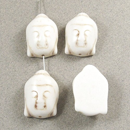 Gemstone Focal Pendant Beads-OFF WHITE CANDY TURQUOISE BUDDHA HEAD 29mm (4) ()