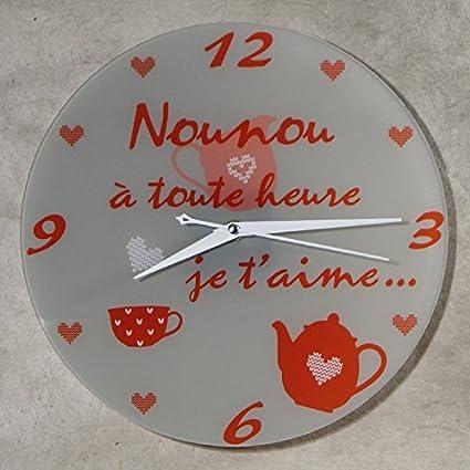 fin de contrat fin dann/ée scolaire No/ël Horloge Je taime Nounou Cadeau pour la f/ête des Nounous Anniversaire
