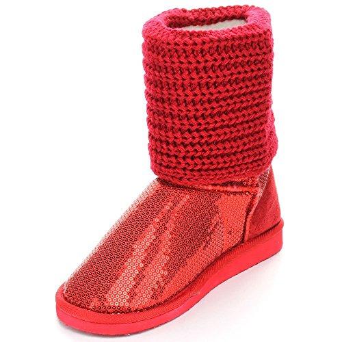 Vrouwen Multi Kleur Nieuwe Mode Glitter Pailletten Enkellaarsjes. Rood