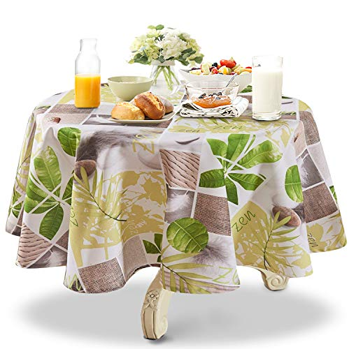 (YEMYHOM 100% Polyester Spillproof Tablecloths for Round Tables 60 Inch, Modern Printed Indoor Outdoor Camping Picnic Circle Table Cloth (Green Plants) )