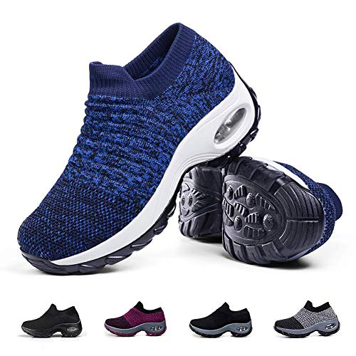 (Women's Walking Shoes Sock Sneakers - Breathable Mesh Slip On Lady Girls Work Nursing Easy Shoes Platform Loafers Royal Blue,6)