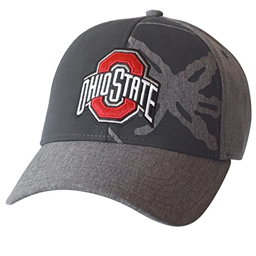 J America NCAA Ohio State Buckeyes Men's Glory Structured Adjustable Cap, One Size, Graphite (Bill Ohio State Flat Hat Buckeyes)
