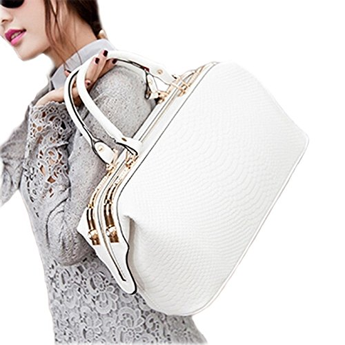 Catkit Vintage Womens Croco Tote Handbag Office Shoulder Crossbody Doctor Bag White