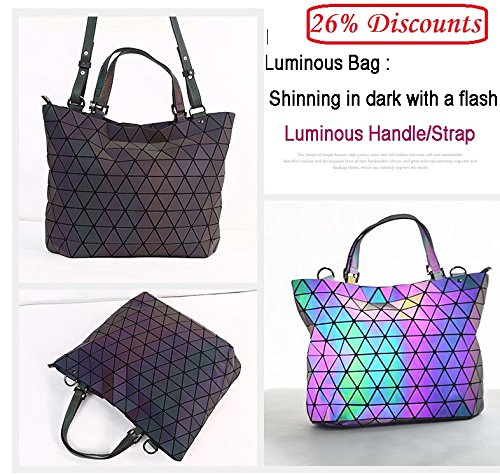 Women Plain Geometry Bags Bag Mirror Tote Bags Luminous Folding Small Casual Small Hologram RwUtqdatf