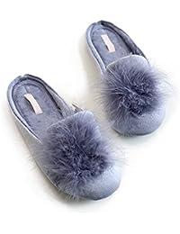 Women's Cozy Velvet Memory Foam House Slippers w/Non Slip Soles