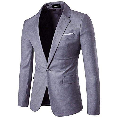 YIMANIE Men's Blazer Slim Fit Casual Suit Coat One Button Business Lapel Suit Jacket Sports Coat Light Gray (Mens Sport Coat Gray)