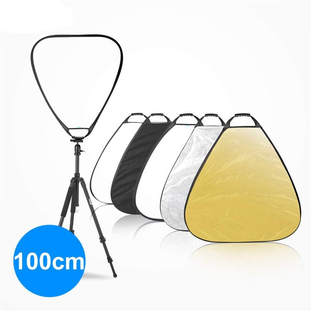 Rnwen Reflector 100cm 5 in 1 Triangle Collapsible Light Reflector with Handle Golden Silver Foldable Reflector Ideal for Outdoor Photography Activities Photographic Reflector