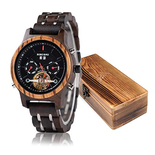 Womens Wooden Mechanical Watches Multifunction Date & Chronograph Luxury Watch for Ladies with Gift Box