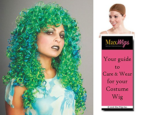 Two Tone Curl Swamp Color Green & Blue - Enigma Wigs Women's Seaweed Witch Halloween 2 Bundle with Wig Cap, MaxWigs Costume Wig Care Guide