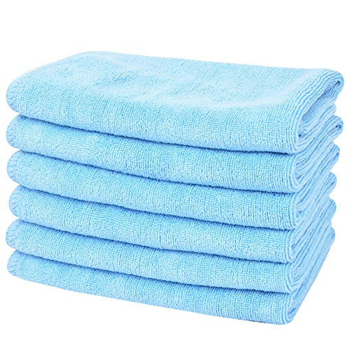 (SINLAND All-Purpose Microfiber Cleaning Cloths Wiping Highly Absorbent & Lint Free Dusting Rags for Home and Kitchen 12Inchx12Inch Light Blue 6 Pack)