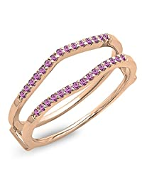 0.18 Carat (ctw) 14K Gold Round Pink Sapphire Ladies Anniversary Wedding Band Guard Double Ring
