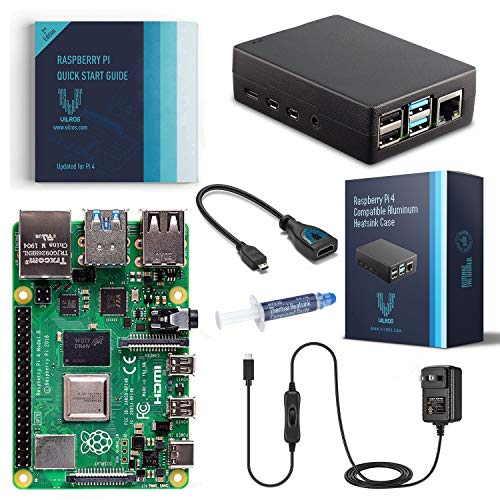 Vilros Raspberry Pi Basic Starter Kit with Heavy-Duty Self-Cooling Aluminum Alloy Case (2GB)