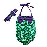 Nevera Kids Girls Mermaid Bowknot for Swimming Swimwear Swimsuit 2 Pcs Bikini Sets Purple