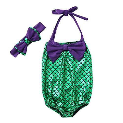 Kids Girls One -Piece Sling Tankini Mermaid Swimsuit Bathing Suit +Headbands Swimwear Set (90, Purple)