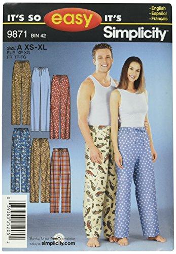 Simplicity Sewing Pattern 9871 It's So Easy Miss/Men Sleepwear, A (XS-S-M-L-XL) Elastic Drawstring Pants