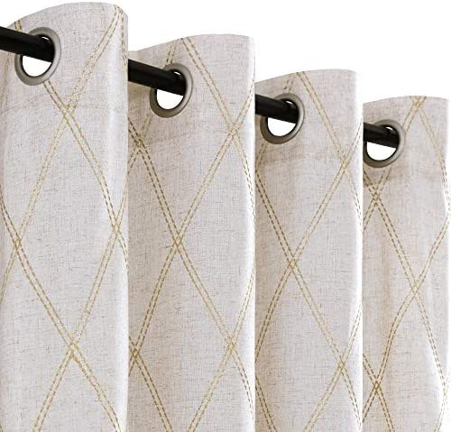 jinchan Linen Textured Curtains for Living Room Long Embroidered Design Window Curtains Privacy Flax Linen Look Window Treatment Set for Bedroom Grommet Top 2 Panels 95 Gold