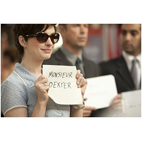 One Day (2011) 8 inch x 10 inch PHOTOGRAPH Anne Hathaway Blue Polka Dot Dress & Sunglasses w/Sign for