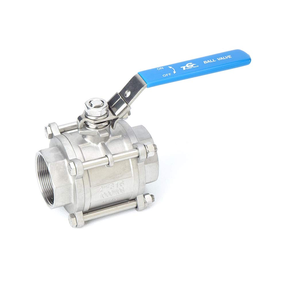 "NPT 1-1//4/"" Ball Valve and Gas with Lockable Lever Target Valve A3TL 3-PC Type Ball Valve 316 Stainless Steel Full Port 1000WOG for Water Oil"