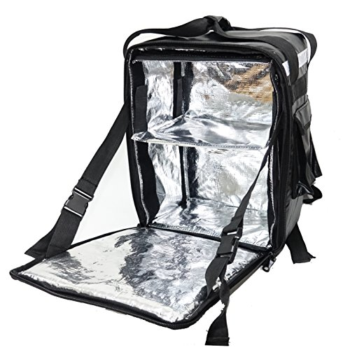 PK-33Z: Pizza Delivery Bag, Beverage Delivery Backpack, Drinking Delivery Box, Coffee Carrier, Heat Insulated Backpack, w/Removable Hardboard Divider, Side Loading, 2-way Zipper, 13
