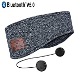Azzker Bluetooth Headband, Bluetooth V5.0 Wireless Hands-Free Sleep Headphones Sports Headband with Detachable Ultra-Thin HD Stereo Speakers and Mic for Sleeping Yoga Calls Travel & Hiking-Gray