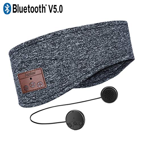 Bluetooth Headband,Azzker Bluetooth V5.0 Wireless Hands-Free Sleep Headphones Sports Headband with Detachable Ultra-Thin HD Stereo Speakers and Mic for Sleeping Yoga Calls Travel & Hiking-Gray