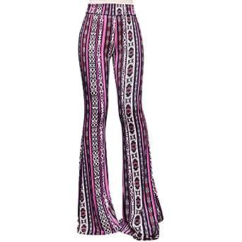ShopMyTrend SMT Women's High Waist Wide Leg Long Bell Bottom Yoga Pants Small Arrows Tribe Fuchsia