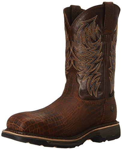 (Ariat Men's Workhog Wide Square Composite Toe Work Boot, Brown Croco Print/Dark Chocolate, 13 2E US)